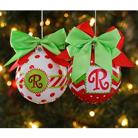 Red & Green Zig-Zag Monogram Ornaments