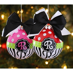 Red & Pink Zebra Monogrammed Ornaments
