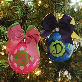Pink & Indigo Monogrammed Ornaments