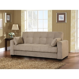 Lexington Khaki Convertible Storage Sofa