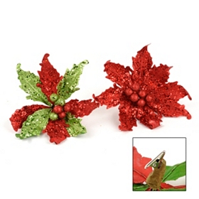 Glitzy Red & Green Clip-On Poinsettias