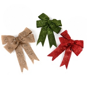 Glitzy Burlap Clip-On Bow