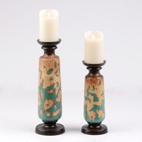 Antique Teal & Tan Candle Holder, Set of 2