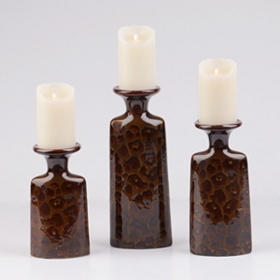 Animal Print Ceramic Candle Holder, Set of 3