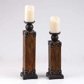 Industrial Wood Candle Holder, Set of 2