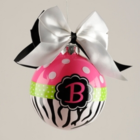 Pink Zebra Monogram B Ornament