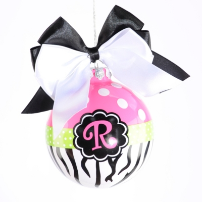 Pink Zebra Monogram R Ornament