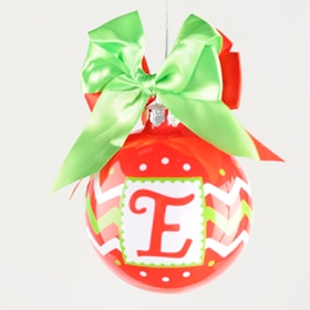 Red & Green Zig-Zag Monogram E Ornament