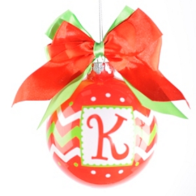Red & Green Zig-Zag Monogram K Ornament