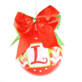 Red & Green Zig-Zag Monogram L Ornament