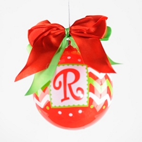 Red & Green Zig-Zag Monogram R Ornament