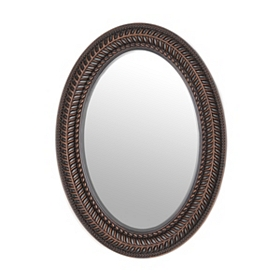 Bronze Open Leaf Wall Mirror, 22x30