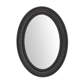Black Open Leaf Wall Mirror, 22x30
