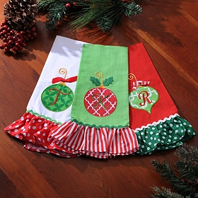 Monogram Linen Christmas Towel