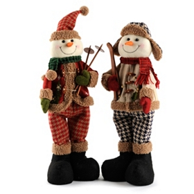 Tan Plush Skiing Snowmen