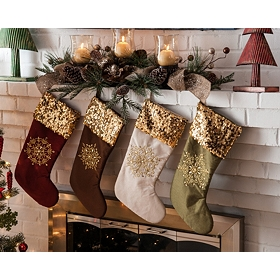 Sequin Snowflake Stocking