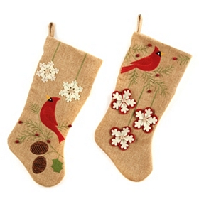 Burlap Cardinal Christmas Stocking