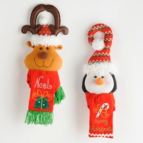 Christmas Reindeer & Penguin Door Hangers