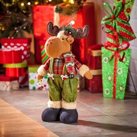 Tabletop Christmas Moose Statue
