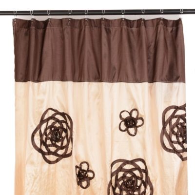 Ivory & Chocolate Flower Sketch Shower Curtain