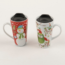 Ceramic Christmas Latte Mugs
