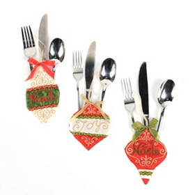 Red & Green Ornament Silverware Holder
