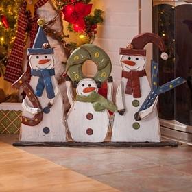 Wooden Snowman Joy Statue