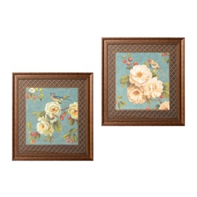 Teal Birds & Blooms Framed Art Print