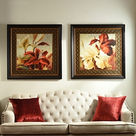 Cream and Red Iris & Lilies Framed Art Prints
