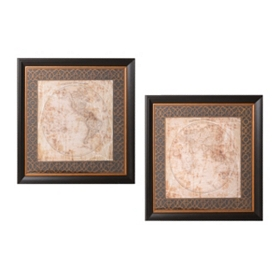 Hemisphere Maps Framed Art Prints