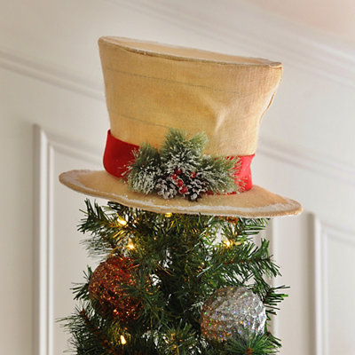 Snow Dusted Burlap Top Hat