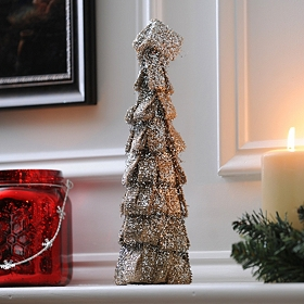 Shimmering Burlap Ribbon Tree, 12 in.