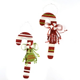 Sparkly Candy Cane Plaques