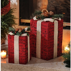 Pre-Lit Red Burlap Gift, Set of 2