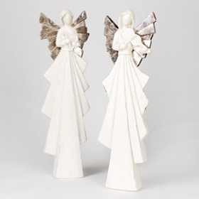 White & Silver Angel Statues, 25 in.
