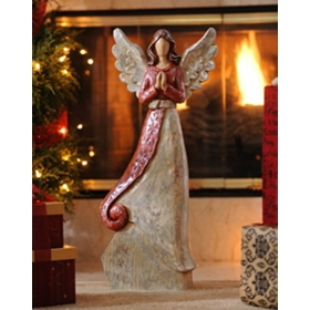 Red & Silver Angel Statue, 24 in.