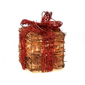 Pre-Lit Natural Grapevine Gift, 6x6