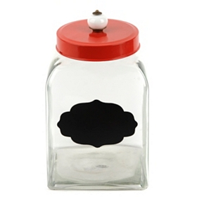Chalkboard Canister with Red Lid, 11 in.