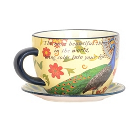 Peacock Tea Cup Planter