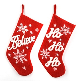 Red Knit Believe Christmas Stocking