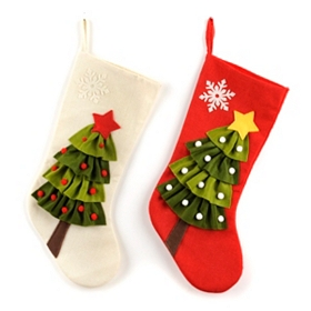 Christmas Tree Burlap Stocking
