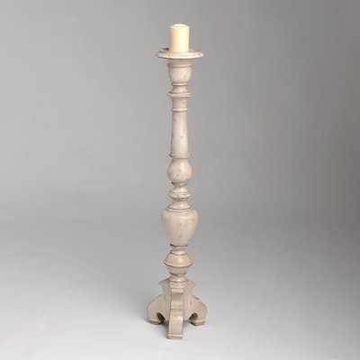 Antique White Floor Candle Holder, 42 in.
