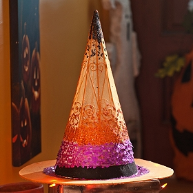 Orange Sequin Witch Hat