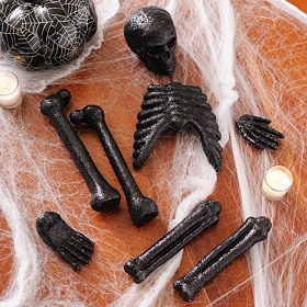 Glitzy Black Skeleton Bones