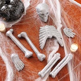 Glitzy Silver Skeleton Bones