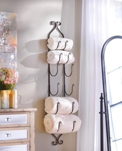 Bronze Metal Hanging Towel Wine Rack