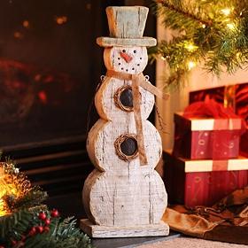Rustic Winter Snowman Statue, 20 in.