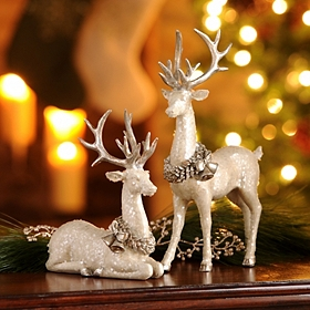 White Deer Statue, Set of 2