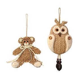 Jute Bear & Owl Ornament