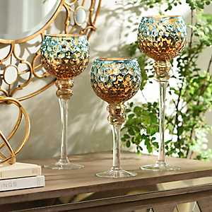 Blue & Brown Mercury Glass Charisma, Set of 3